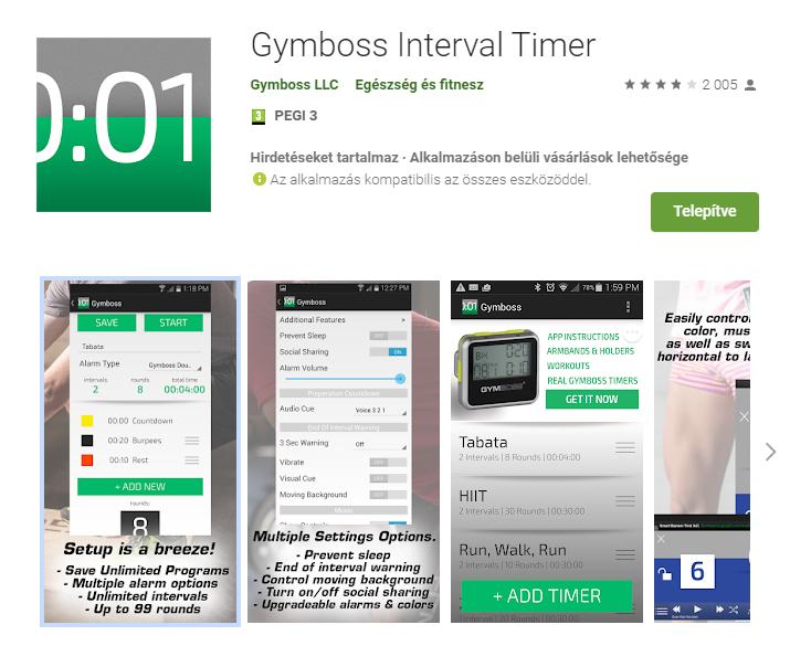 Gymboss applikáció a Play áruházban